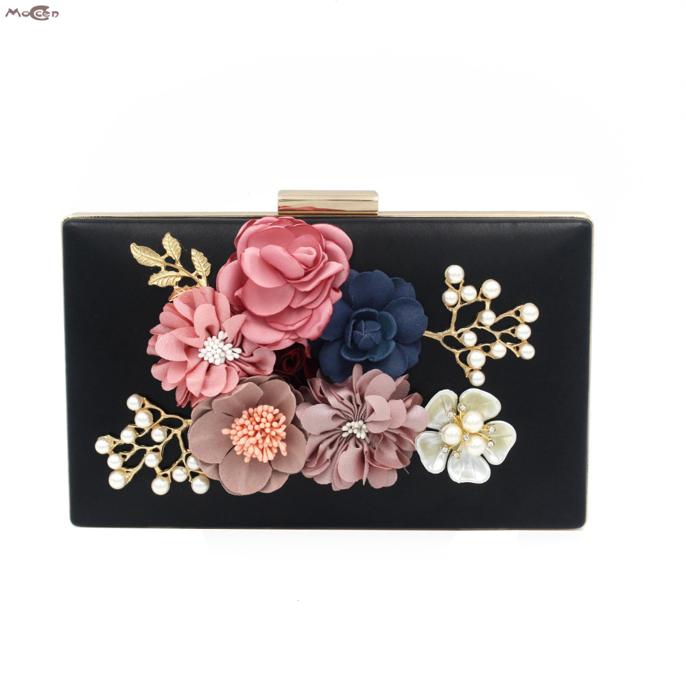Moccen Flowers Evening Handbag Floral Women Clutches Fashion Hangbags Party Clutch Wallet Purse Female Purses And Hand Bag new 2015 fashion women day clutches shiny red and black evening clutch handbag female bolsa feminina pequena lady purse hand bag