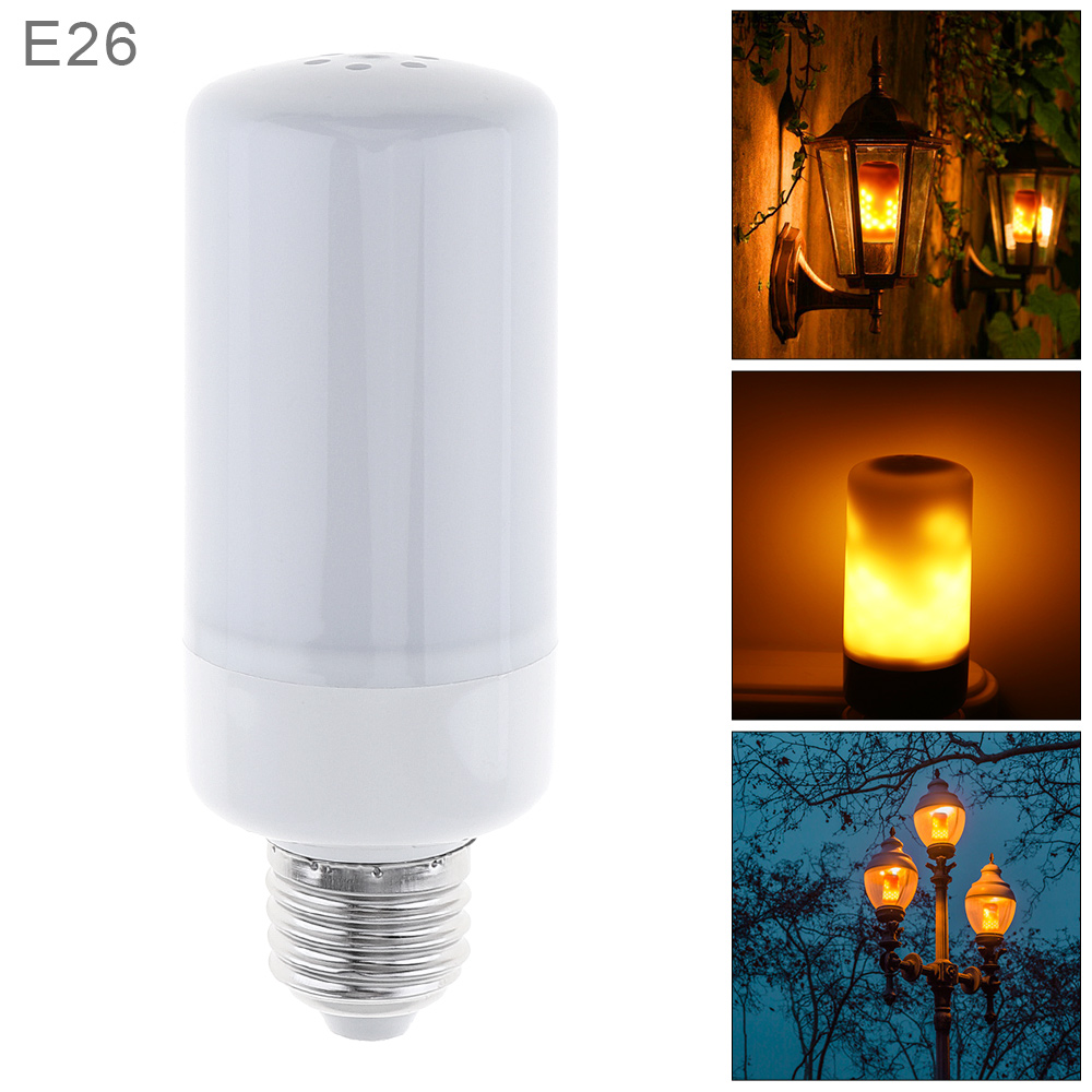 7.5W E26 Light Bulb 96 LEDs Dummy Flame Lamp with 3 Working Modes and Torch Type for Holiday/ Garden/ Bar/ Decoration