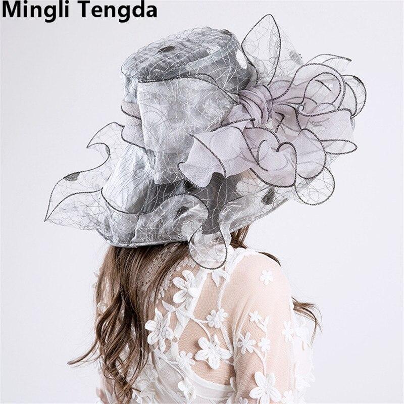 Новинка, Свадебные шляпы из органзы для женщин, элегантные вуалетки, Свадебные шляпы с цветами и шляпки с бантом, свадебные аксессуары mingli Tengda - Цвет: Gray