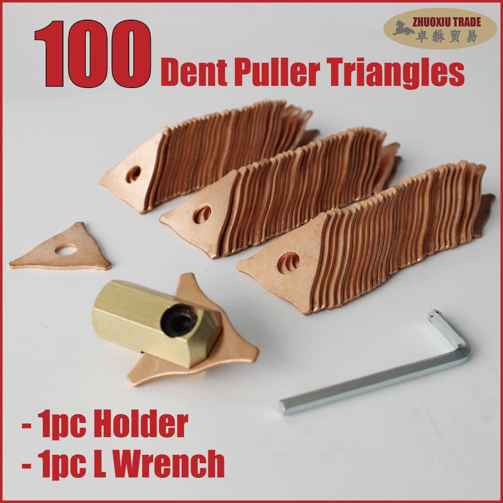 Spot Welder Spotter Consumables Kit - 100pieces Dent Pulling Triangles with 1pc holder and 1pc L Wrench PP-102J  цены