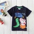 Envío libre de Los Niños Ropa de Bebé Niños Niñas niños Cartoon Cerdo Camiseta Tops Edad 3-6 Años