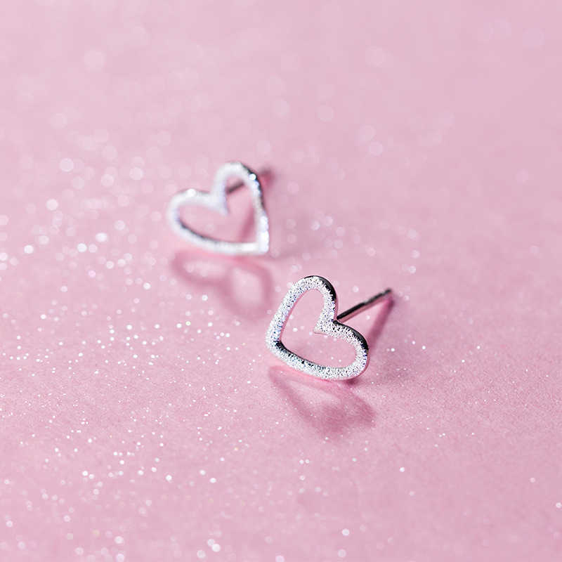 MloveAcc 925 Sterling Silver Jewelry Women Fashion Cute Tiny 0.8cmX0.9cm Hollow Heart Stud Earrings Gift for Girls Kids Lady