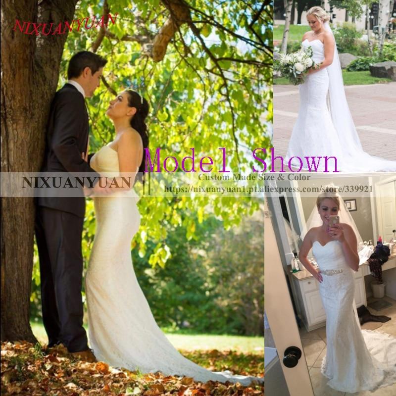 NIXUANYUAN 2019 Hot Vanzare Elegant Sweetheart Ivory White Lace - Rochii de mireasa - Fotografie 6