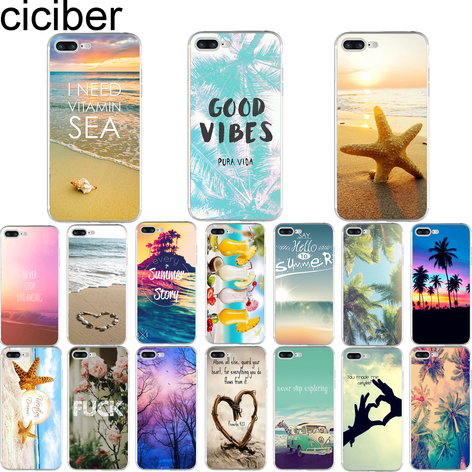 ciciber Summer Beach Landscape Pattern Design Soft Silicone Phone Cases Cover for Iphone 7 6 6S