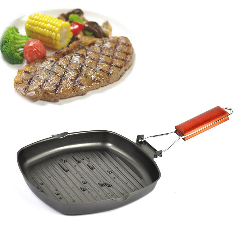 Skillet Pancake Pan Plancha New Square Folding Frying Pan 22cm Eco Friendly Healthy Aluminium Coating For Kitchen Cooking Tools