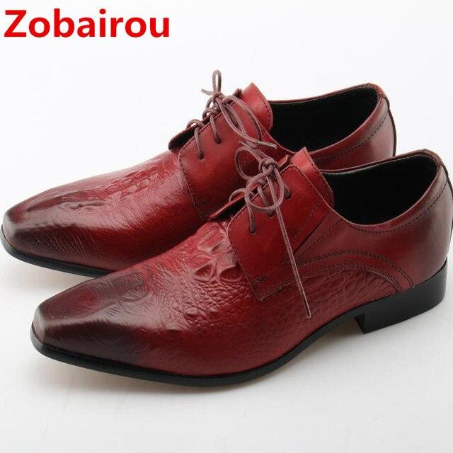 Marque italienne Hommes Chaussures en cuir véritable designer italien Black Lace Up affaires Mariage Flats 9lLnZcTm