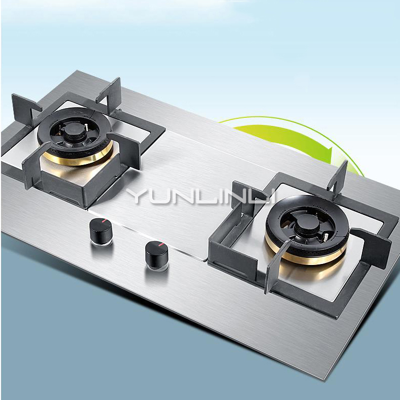 Household Gas Stove Embedded And Table Type Dual Use Gas Stove Stainless Steel Double-burner Gas Furnace JZT-GZ451