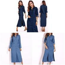 New Arrival Women Long Sleeve Lapels Shirt Denim Buttons Long Shirt Dress Party Cocktail Coat long sleeve patch design suede insert denim shirt