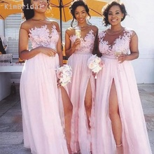 Pink Bridesmaid Dresses 2019 Sheer Crew Neckline Lace Appliques A Line Floor Length Maid Of Honor Dresses Wedding Party Dresses lace jewel neckline cap sleeves ankle length a line flower girl dresses for wedding with lace appliques girls dresses