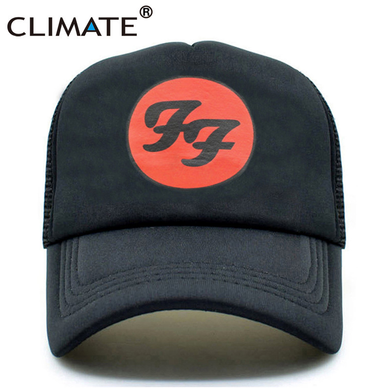 CLIMATE Women Men Foo Fighter Rock Trucker Cap Black Hard Rock Summer Cool Summer Baseball Net Trucker Caps Hat For Men Women