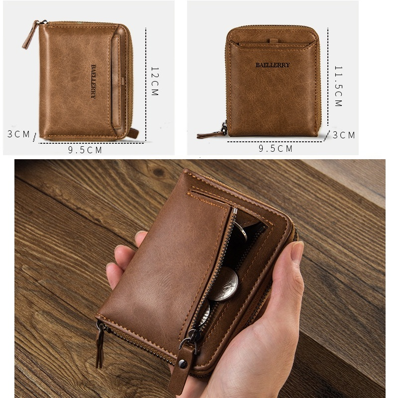 2017 wallet card organizer money bag coin pocket pu leather wallets vintage purse men multifunction card holder photo bit
