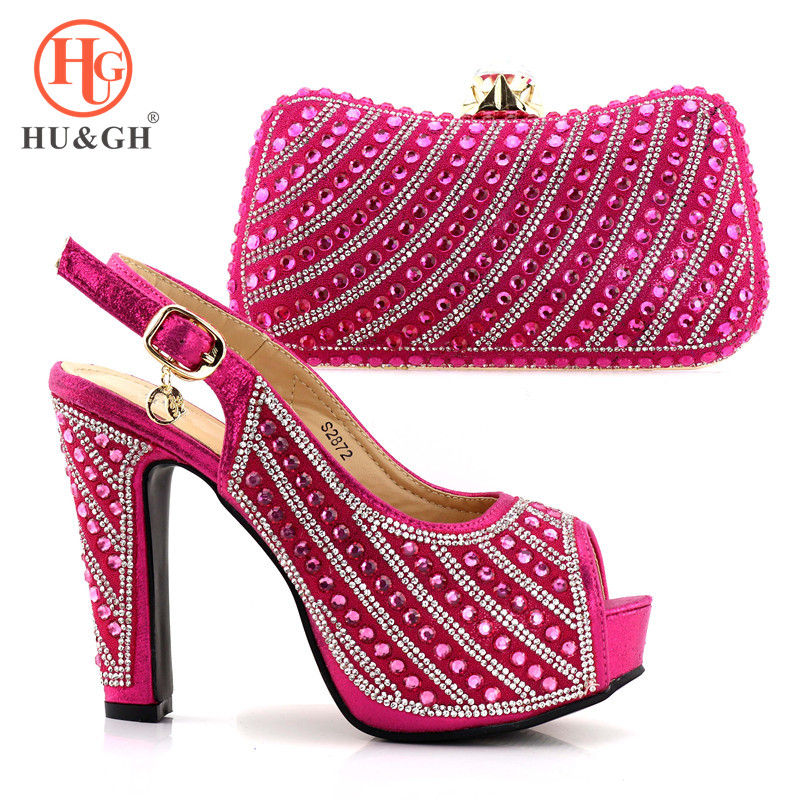 New Italian Matching Shoe and Bag Set Rose Pink Color Heels Decorated with Rhinestone Women Pumps African Wedding Shoes and Bags doershow african women matching italian red color shoes and bag set decorated with rhinestone italian ladies shoe and bag sab1 2