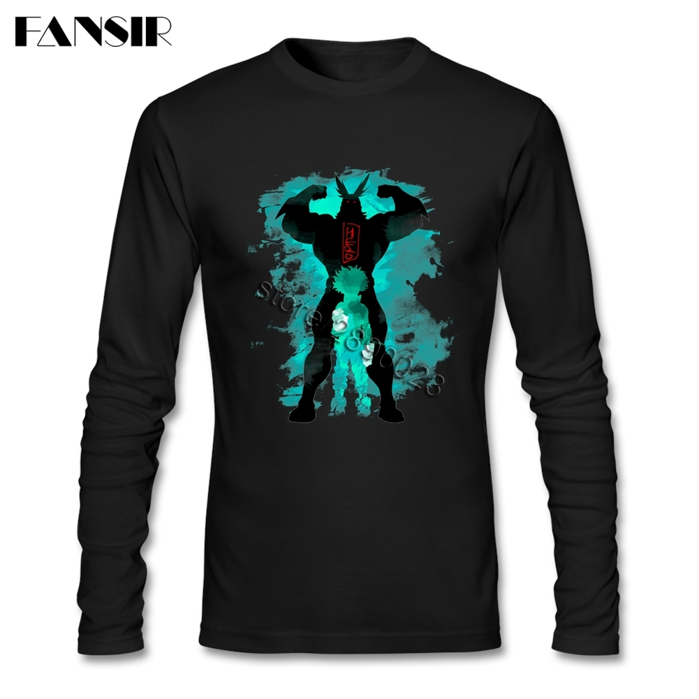 Vintage My Hero Academia T Shirt Men Long Sleeved Organic Cotton O-neck Clothing For Youth