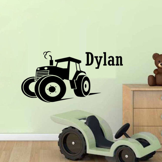 Boys bedroom decor decals custom name wall sticker personalized big tractor stickers baby boy nursery vinyl