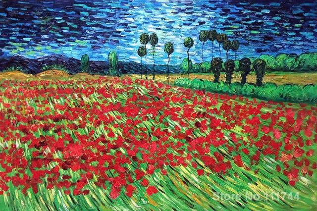 famous art for bedroom Field of Poppies Vincent Van Gogh paintings ...