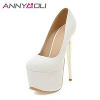 ANNYMOLI Women Pumps Extreme High Heels Platform Wedding Shoes Bridal White Stiletto Sexy Pumps 16 cm Heels Spring Shoes 33 46