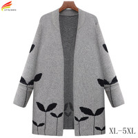 Autumn Winter 2017 New Long Knitted Coat Woman Gray And Dark Gray Open Stitch High Quality