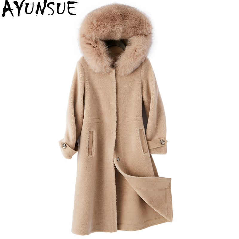 AYUNSUE 2018 Femmes Réel Laine Manteau Mouton Mouton Manteaux De Fourrure Naturelle Fox Col De Fourrure À Capuchon Long Chaud Veste D'hiver Femelle WYQ1960
