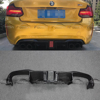 Car Styling Carbon Fiber Rear Diffuser Bumper Lip Splitter For BMW F87 M2 With LED Light OLOTDI