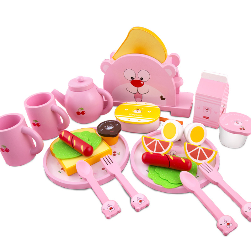 Wooden Kid's Kitchen Food Play House Game Toys Pink Strawberry Toast Bread Maker Learn Cooking Educational Toy For Girl