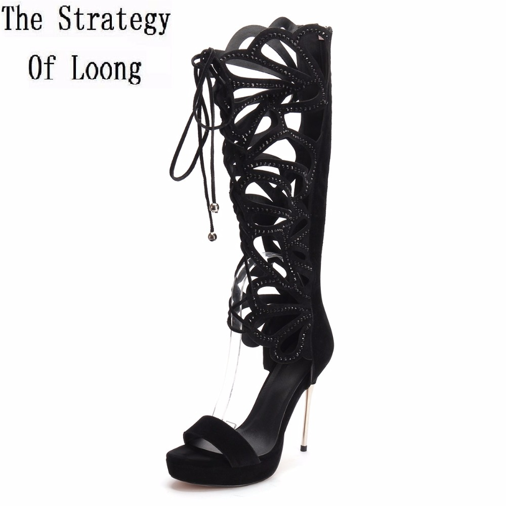 Open The Toe Genuine Leather Thin High Heels Knee High Gladiator Sandal Boots Peep Toe Cut Out Women Summer Long Boots Plus Size new arrival knee high boots cross strap cut outs gladiator sandal boots suede open toe lace up sandals summer women flat shoes