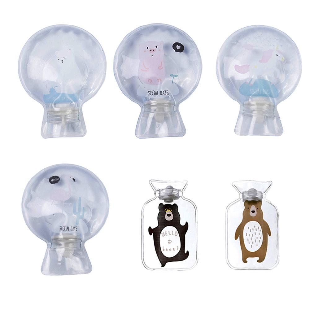 Round Mini Hand Warmer Cartoon Cute Transparent Pvc Hot-Water Bag Small Size Water Injection Hot-Water Bag