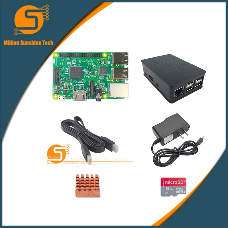 UK RS Version Raspberry pi 3 + Heat sink+ Case Box+ power charger plug+1.5m HDMI+16G SD for Raspberry pi 3 B free shipping suck uk
