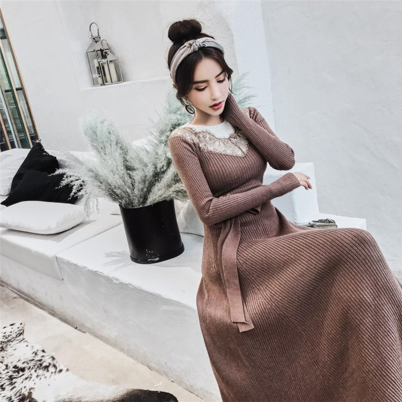 High Quality Explosions Leisure patchwork full matching Dresses Women Autumn Casual Dress