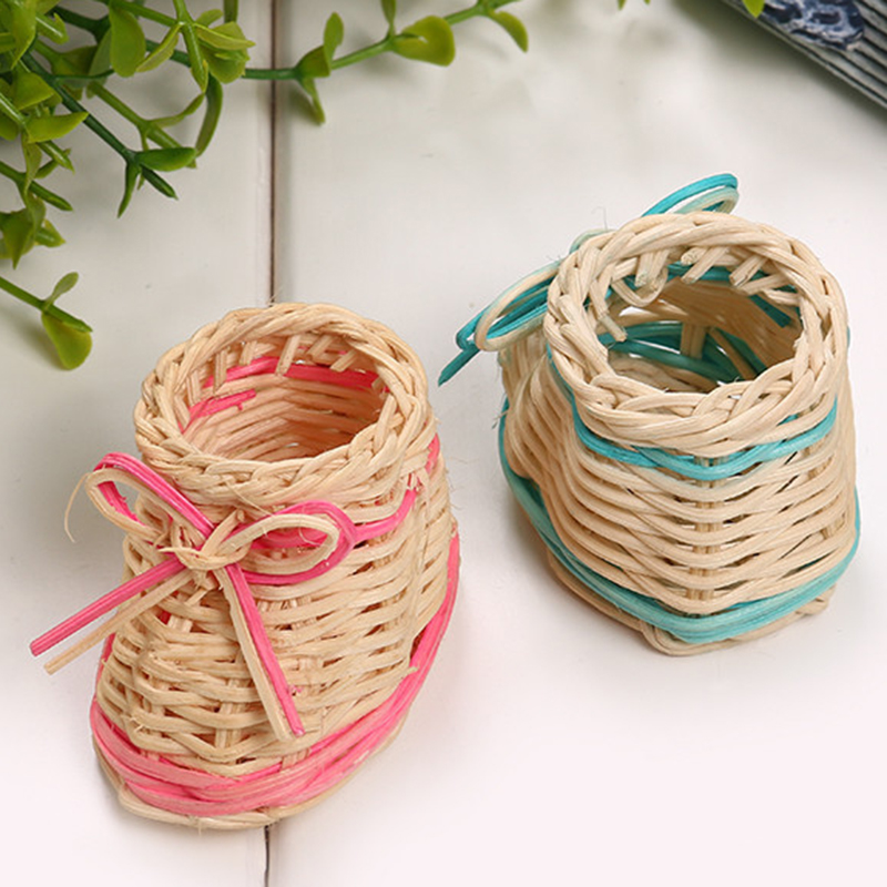 Cute Pink Blue Color Straw Shoe Table Basket Dried Flowers Vase With Storage Function Home Christmas Decoration DropShipping gold metal duvar saati