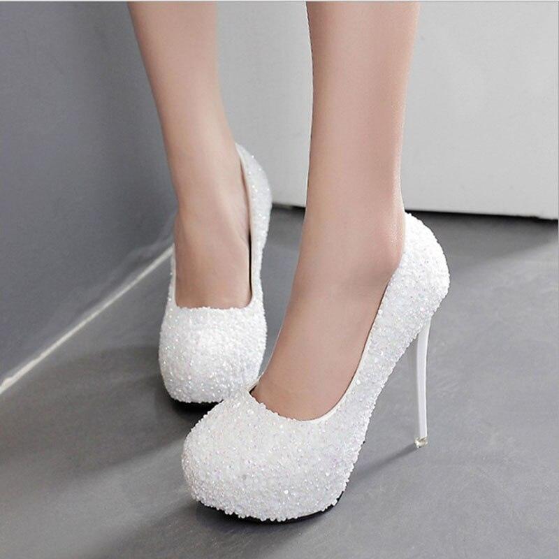 Bridals cristal chaussures mariage chaussures à talons hauts strass blanc mariée pompes 2019 nouveau arrivé femmes talons hauts zapatos de mujer