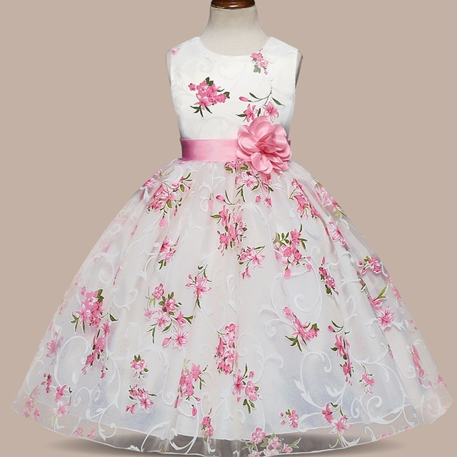 874d073153 US $10.48 38% OFF|Girls Summer Weddings Ball Gown Pink Floral Flower Girl  Dress Special Clothes For Children 4 5 6 7 8 Years Kids Birthday Outfits-in  ...