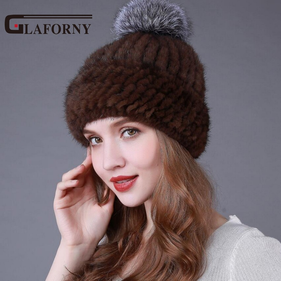 2017 New Style Women Knitted Beanie With Fox Fur Ball Women Fur Headgear Female Hat Casual  Mink Fur Hats for Russian 4 Colors 4pcs new for ball uff bes m18mg noc80b s04g