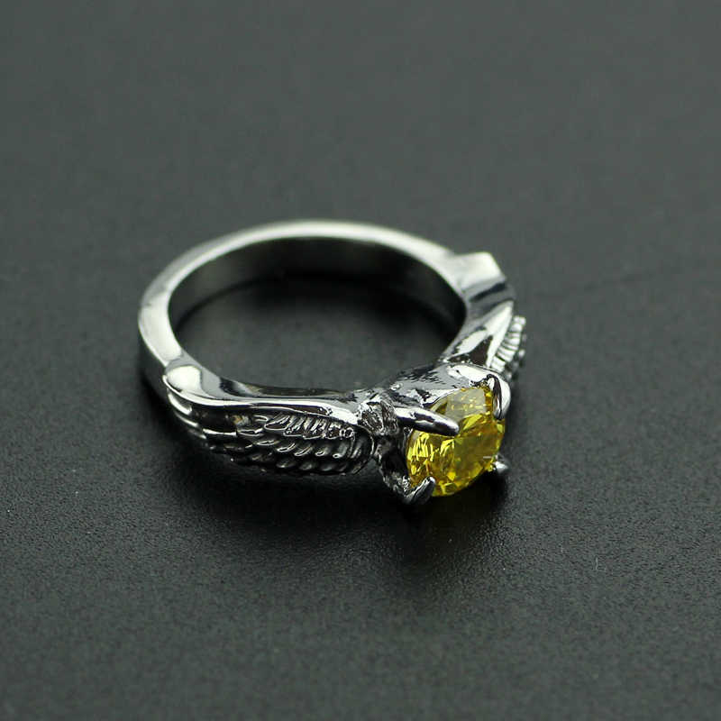 01872bf2986b6 Hermione Jane Granger Quidditch Golden Snitch Ring Silver Color Rings with  Orange Crystal for Women Girls Wedding Jewelry