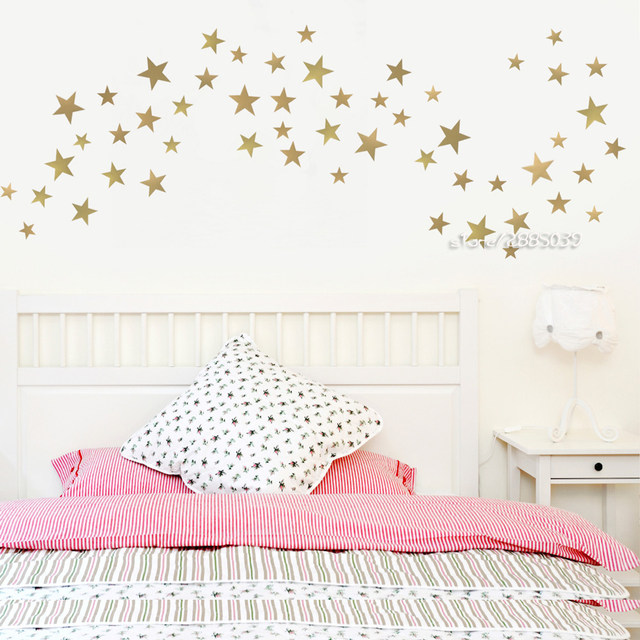 Online Shop Five Point Star Wall Stickers Metallic Gold Vinyl Wall ...