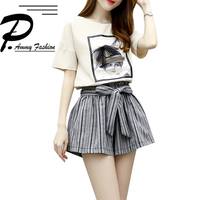 2018 Fashion Women S Sets Ladies Girls Solid O Neck Top Striped Elastic Waist Shorts Two