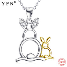 YFN Genuine 925 Sterling Silver Mother and Baby Rabbit Animal Pendant Necklace Female Jewelry Gifts For