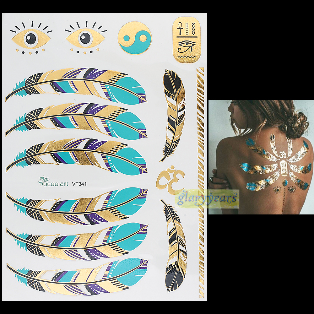 1 unid flash oro plata metálico tatuaje mujeres Henna vt341 azul ...