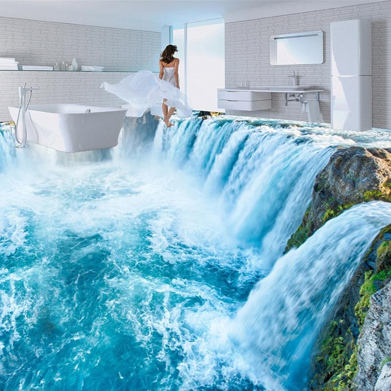Papel tapiz con foto personalizada, Paisaje con cascadas en 3D, baldosas, murales, pegatinas de pared, impermeables, para baño, dormitorio, de PVC