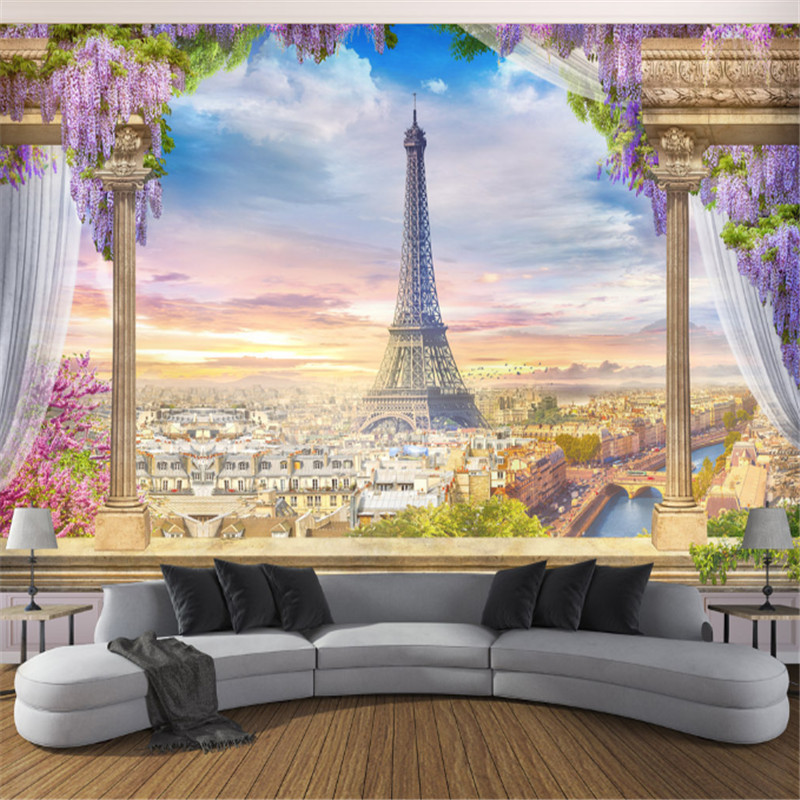 Wallpapers YOUMAN European Style Wallpapers 3D Flowers Wall Murals Nature Landscape Photo Eiffel Tower Walls Paper Home Decor