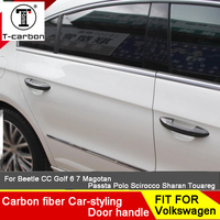 Car styling Carbon Fiber Auto Door Handle Knob Exterior Trim Covers For Volkswagen Golf 7 For Skoda Fabia Octavia Superb Sticker