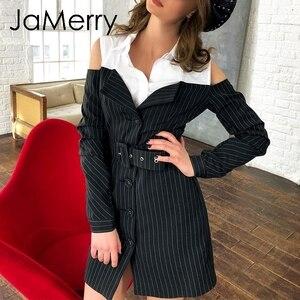 Image 2 - JaMerry Sexy off shoulder fake two piece stripe blazer dress women Office lady sash mini dress Autumn winter blazer blouse dress