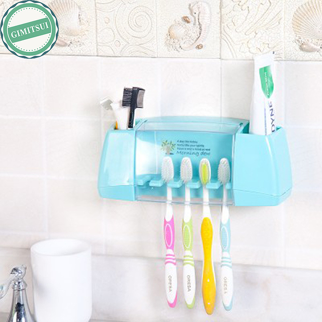 Multifunctional Toothbrush Holder Storage Box Bathroom Accessories Suction Hooks Self Adhesive Rack Shelf Stand Organizer