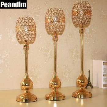 PEANDIM Three Sizes Gold Wedding Candle Holders Party Crystal Candlesticks Jewish Candelabra Centerpiece Candle Votive Holder