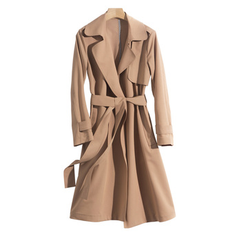 GUIYI Windbreaker Women's Middle and Long Style Korean Spring and Autumn Wear Collection Waist Show Thin Temperament Leisure