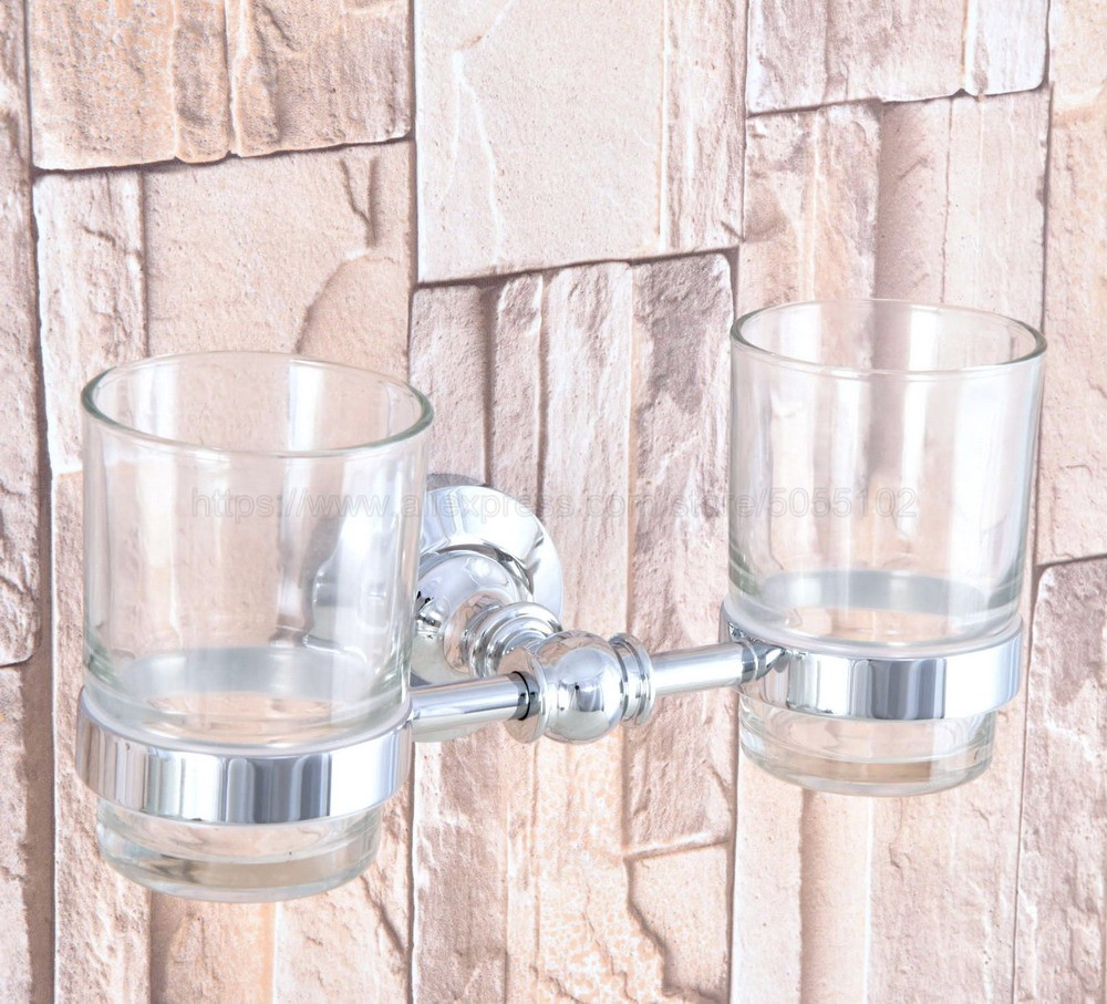 High Quality Bathroom Polished Chrome Toothbrush Holder + Two Glass Cups Wall Mounted Bathroom Accessories zba799 image