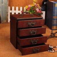 Antique Wooden Jewelry Storage Box Retro Ming & Qing Dynasty Style 4 Drawers Make up Storage Box Organizer