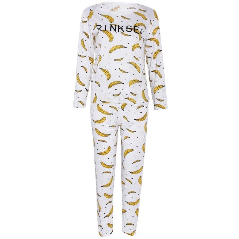 Women Long Sleeve Cartoon Banana Print Tops   Pajamas     Set   Sleepwear