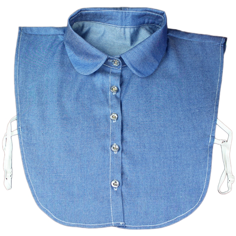 2018 Fake Collar Shirt Vintage Blue Jeans Detachable Collar Vintage False Collars Nep Kraagje Blouse For Women Men Clothes Tops