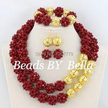 Nigerii niestandardowe zestaw biżuterii ślubnej 2 wiersze kryształowe koraliki czerwony afryki ślubne najnowsze nowy zestaw biżuterii ślubnej darmowa wysyłka ABS132 tanie tanio Zestawy biżuterii Moda PLANT Ze stopu miedzi Zestawy biżuterii dla nowożeńców TRENDY Ślub Kobiety Necklace Earrings Bracelet