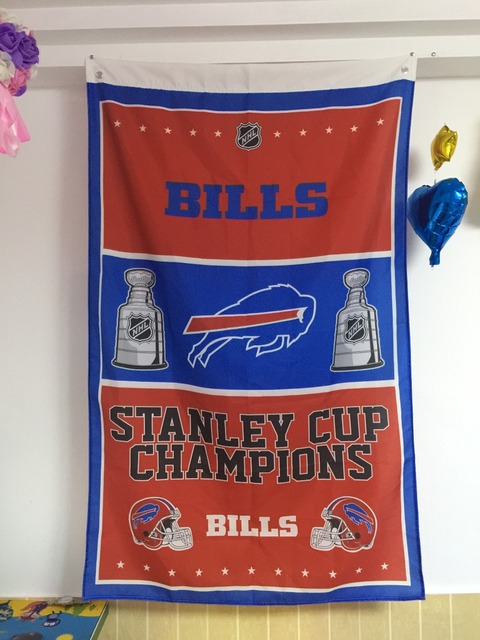 Buffalo Bills Stanley Cup Champions Football Club House Flag Banner 3ft x 5ft Size No.4 144* 96cm Custom flag